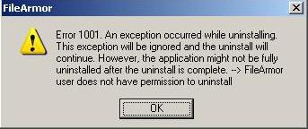 Error 1001 in FileArmor