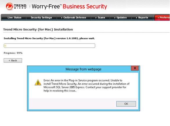 TMSM installation error message