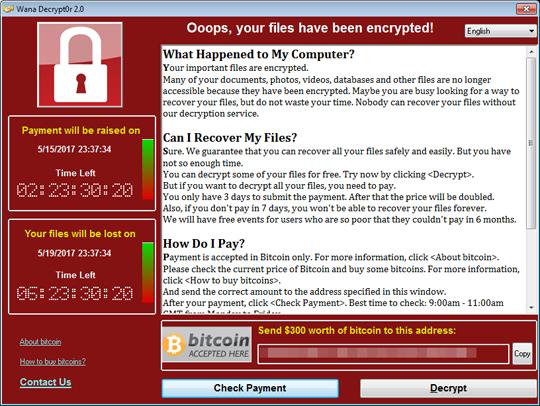 Ransomware Wana Decrytor Ransom Message