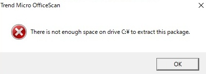 Not enough storage on Drive C: error