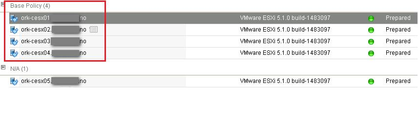 Base policy assigned to VMware ESXi host