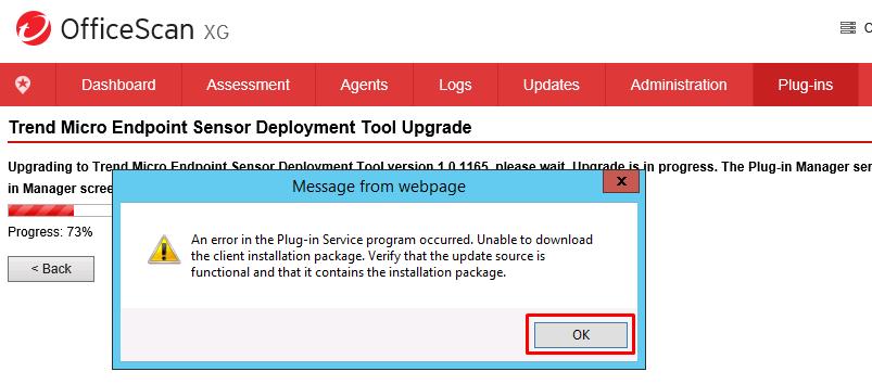 An error in the Plugin Service program occured