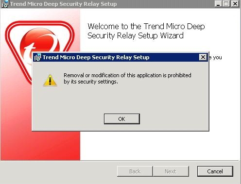 deep security relay setup error during upgrade