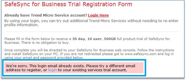 SafeSync for Business Trial Registration Form