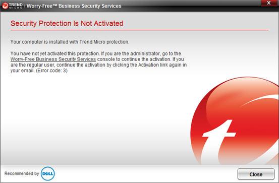 Error code 3 WFBS-SVC for Dell 3.01