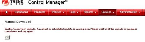 Manual update error message