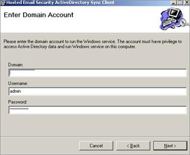 Enter domain account window