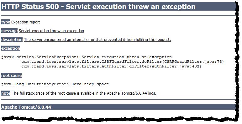 HTTP 500 error