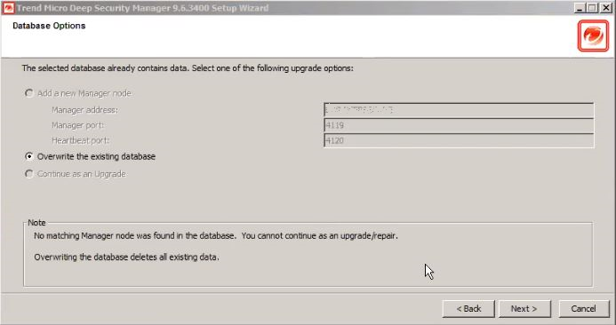 Overwrite the existing database
