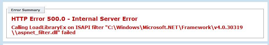 HTTP Error 500.0
