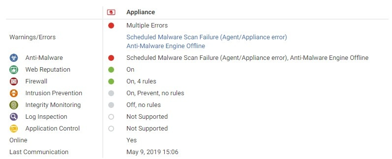 Scheduled Malware Scan Failure and Anti-Malware Engine Offline