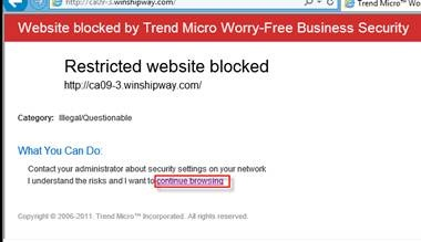 Continue Browsing Link Is Unavailable From The Restricted Website Blocked Message Worry Free Business Security