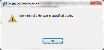 key not valid for use in specified state