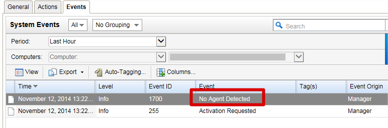 VM Event- No Agent Detected