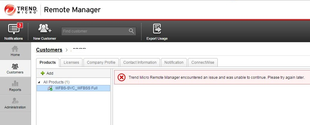 Trend Micro Micro Remote Manager encountered an issue was unable to continue. Please try again later.