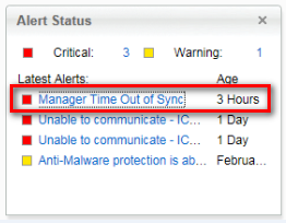 Alert status: Manager Time Out of Sync