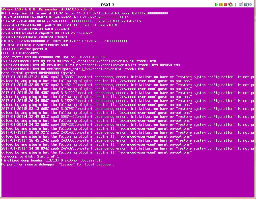 PSoD in vSphere ESXi 6.0 U1a