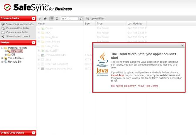 SafeSync couldn't open Java Applet