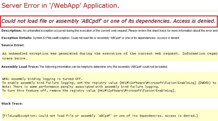 Server Error in '/WebApp' Application