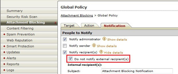 Do not notify external recipients