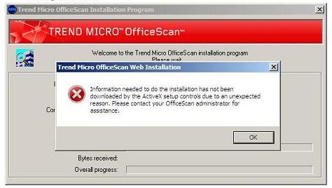 Trend Micro OfficeScan Web Installation error