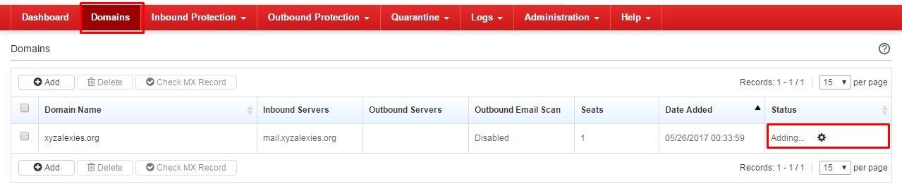 Domain Adding status