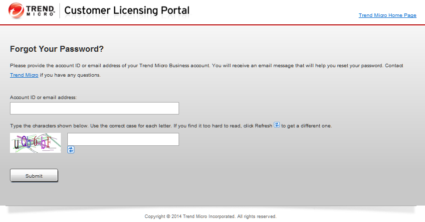 Request your password through Customer Licensing Portal