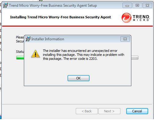WFBS agent error code 2203