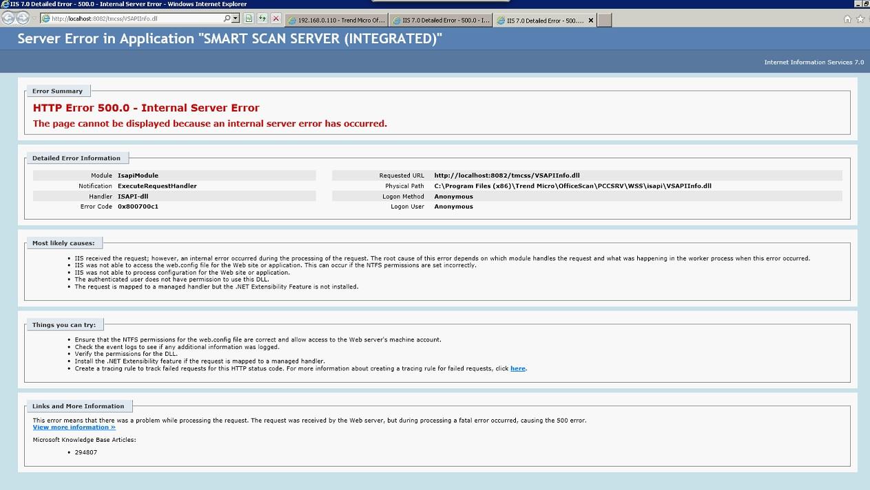 HTTP Error 500.0 - Internal Server Error on Smart Scan Server (Integrated)