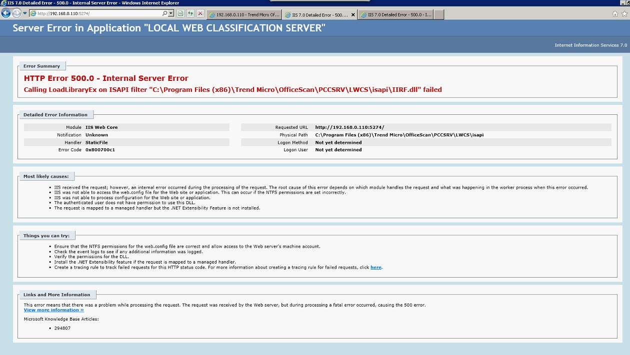 HTTP Error 500.0 - Internal Server Error on Local Web Classification Server