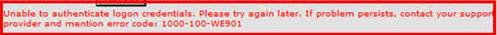Error code 1000-100-WE901