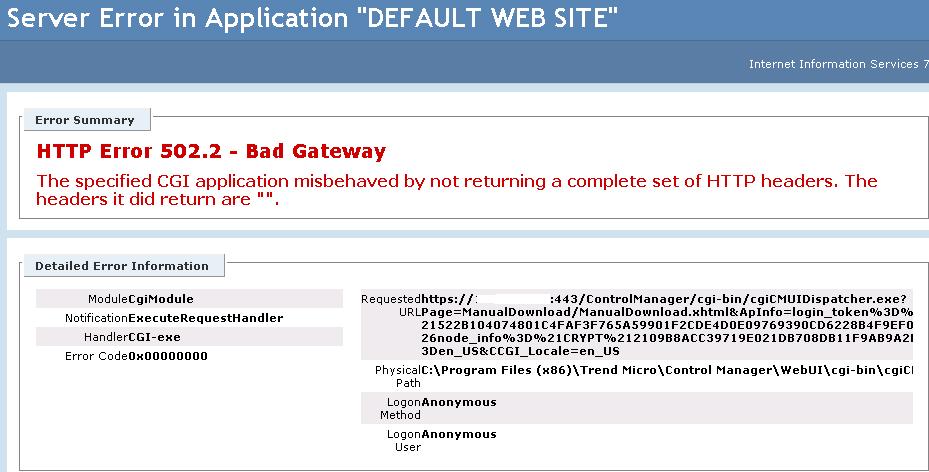 HTTP Error 502.2 - Bad gateway