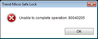 Unable to complete operation