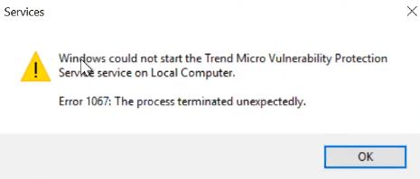 Vulnerability Protection Error