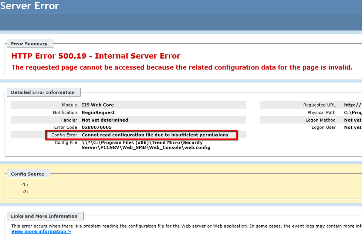 HTTP Error 500.19 - Internal Server error