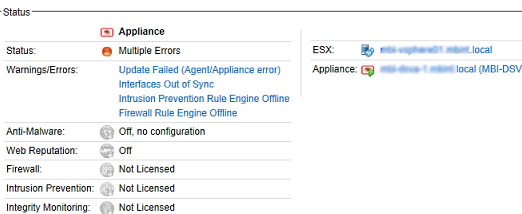 Multiple Errors status of VM