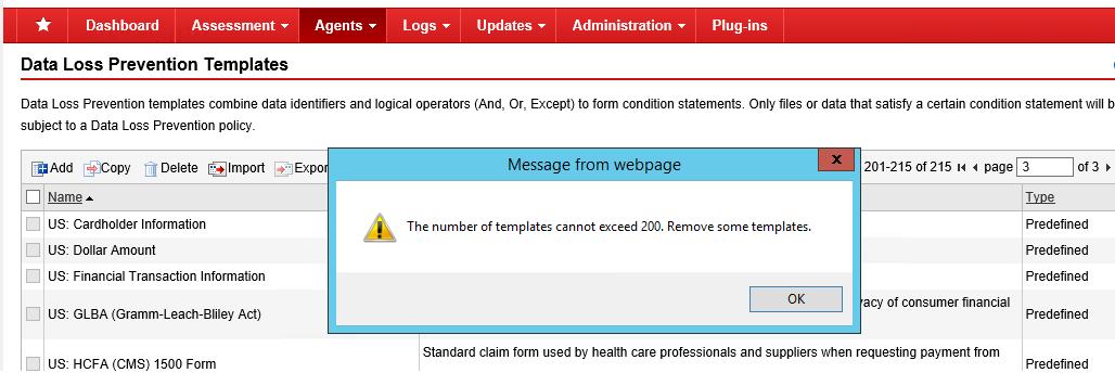 Error in adding Data Loss Prevention Template