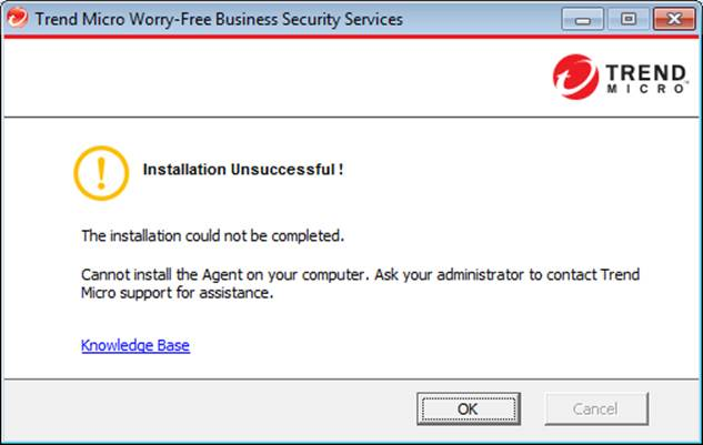 WFBS Installation Unsuccessful