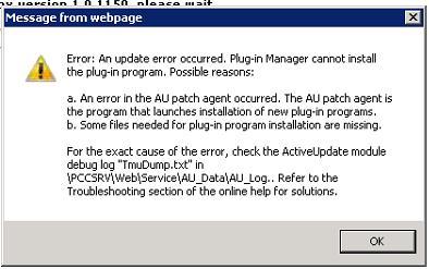 An update error occured...