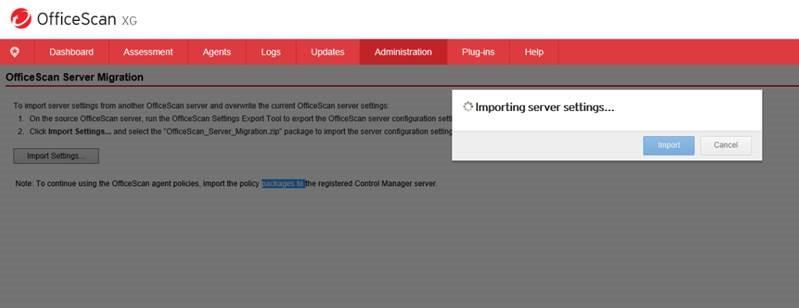 Import server settings