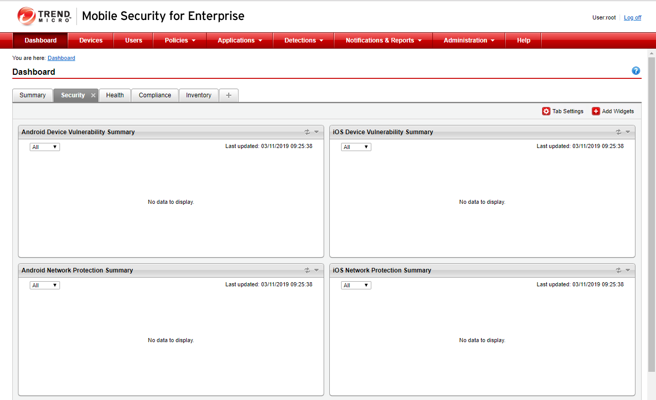 No data to display in Mobile Security for Enterprise dashboard