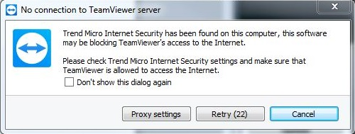 No connection to TeamViewer server