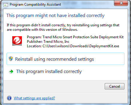 This Program Might Not be Installed Correctly