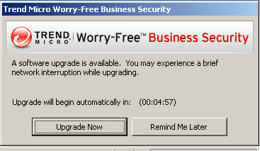"""""""A software upgrade is available. You may experience a brief network interruption while upgrading"""" popup message"""