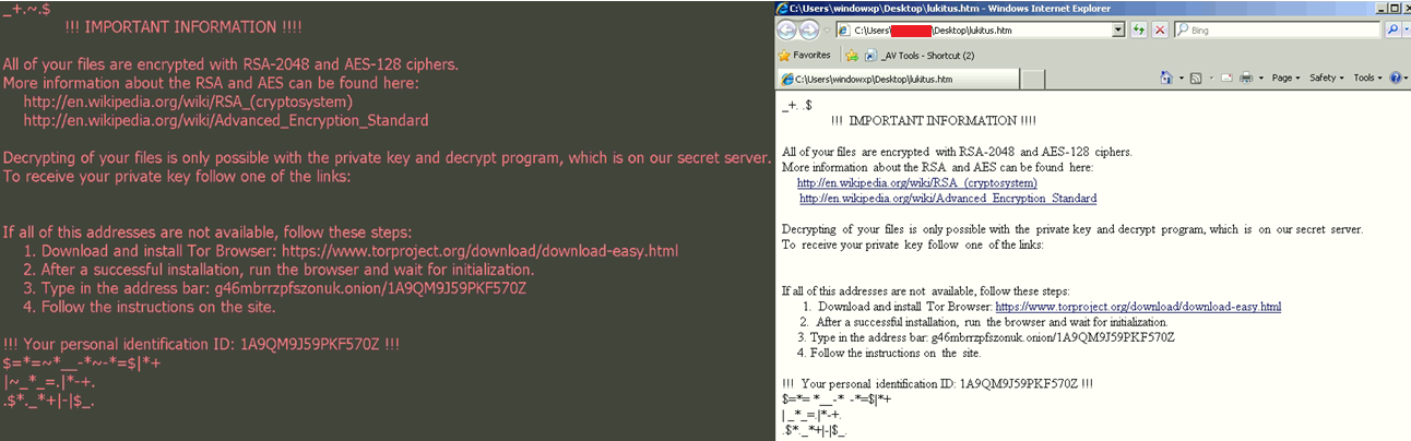 Lukitus Ransomware Ransom Notes