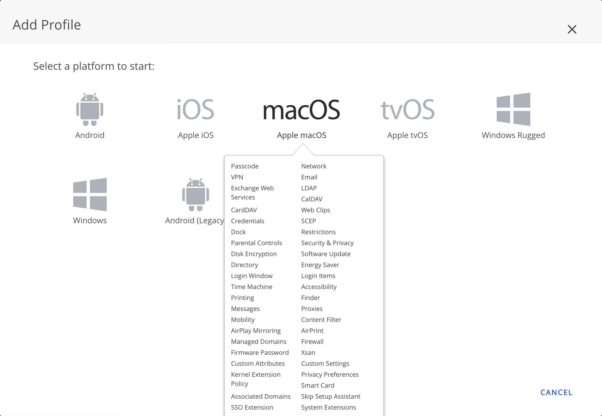 Add macOS Profile