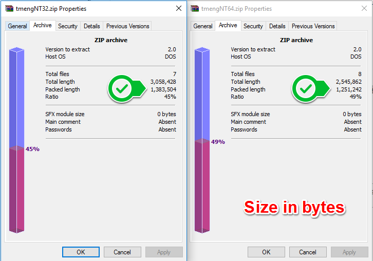 Size in bytes