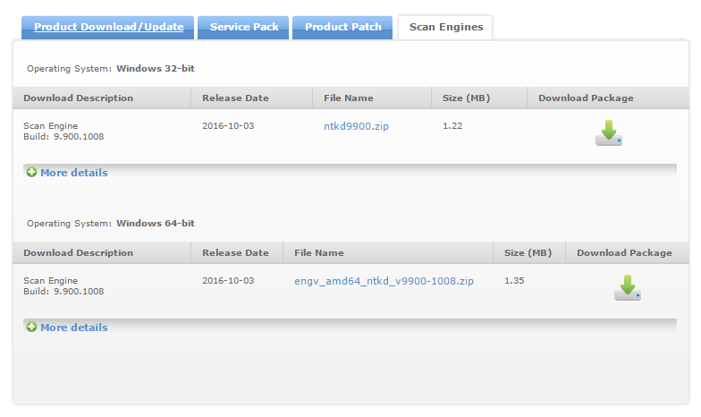 Scan engine download