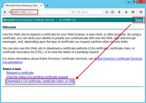 Download a CA Certificate, certificate chain or CRL