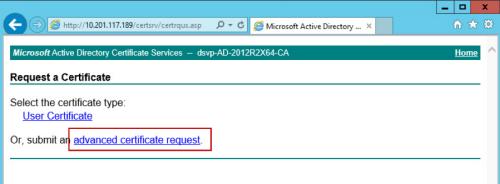 Advanced certificate request